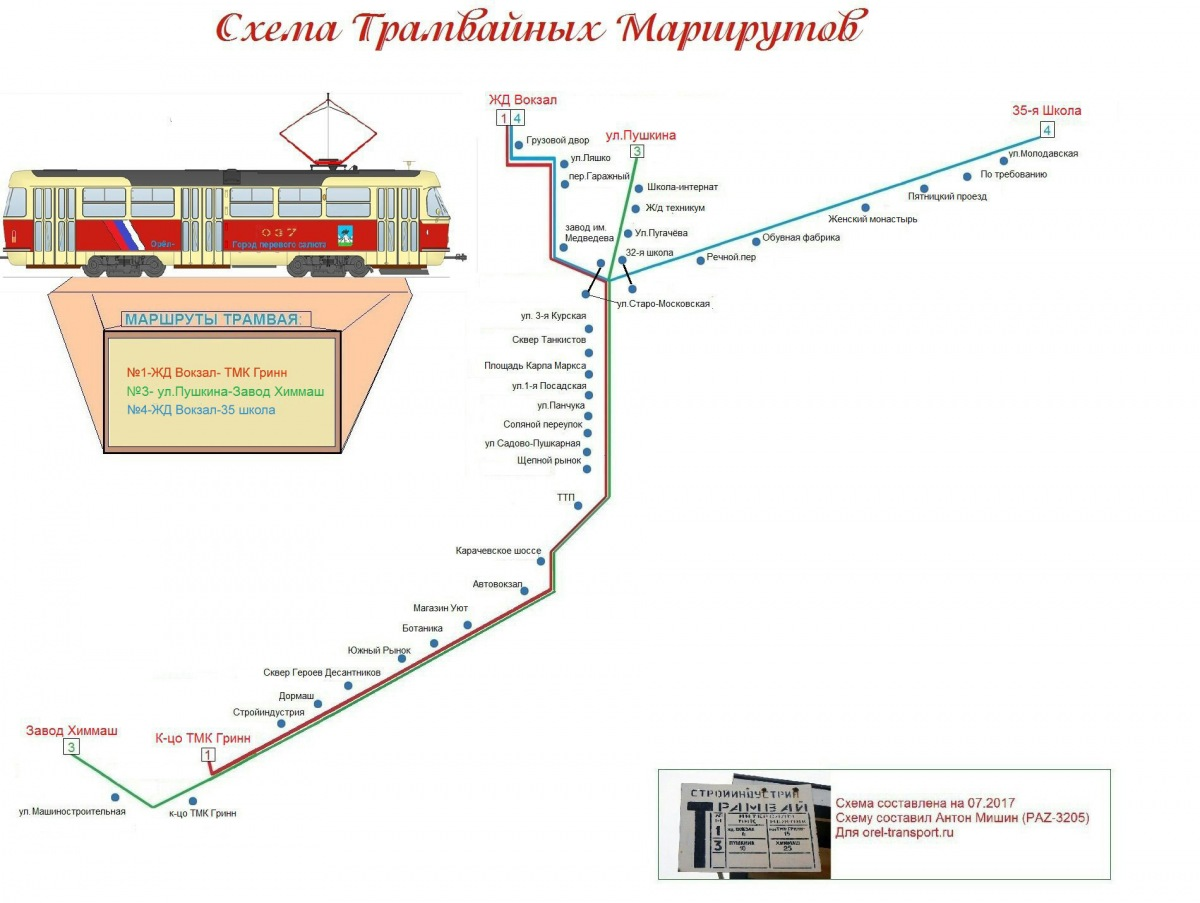 Схема проезда трамваев в орле